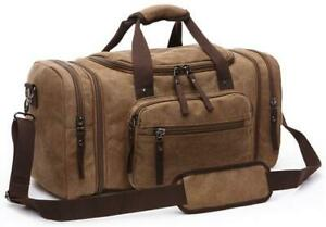 Mens Large Travel Bag Canvas Expandable Carry Luggage Weekend Overnight Holdall