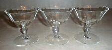 Vintage Set of 3 Low Champagne Sherbet Clear Stemware Glasses Optic Lines