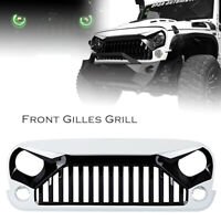 Front Angry Grille Grill For Jeep Wrangler JK JKU Rubicon Sport 2007-2017 White