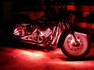 10pc Wireless Remote Indian Scout Motorcycle Red Led Neon Strip Light Kit