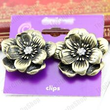 CLIP ON vintage Brass 3cm BIG FLOWER crystal Antique Style Earrings CLIPS chunky