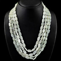 GENUINE 550.00 CTS NATURAL 4 STRAND GREEN AQUAMARINE OVAL BEADS NECKLACE (RS)