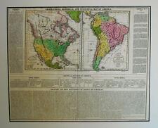 1820 Antique Map North South America Matthew Carey & Son Philadelphia Color