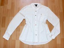 Hemdbluse Langärmelige Bluse 40 42 Leichte Bürobluse Stehkragen Weiß Neuwertig