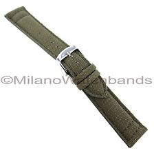 20mm Hadley Roma Olive Canvas Material Thick Pad Genuine Leather Watch Band 849