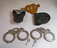 Smith & Wesson Handcuffs W/Key  Cases Springfield Massachusetts Vtg Lot of 2