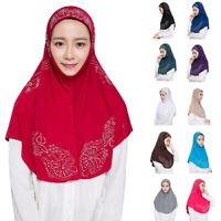 One Piece Muslim Women Hijab Islamic Hot Drilling Scarf Amira Headscarf Caps