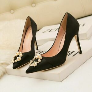 10CM Women's Shoes Nightclub High Heel Pointed Satin Pearl Buckle Single Shoes/*