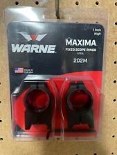 Warne Maxima 202M 1 inch High Scope Rings Fixed Steel - Matte Black - Pre Owned