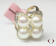 0.15CTW Diamond Pearl Ring 14K Y Gold