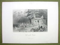 CANADA Shanty Settler Hut on Lake Chaudiere - 1880s Antique Print Engraving