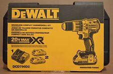 """Brand New DEWALT DCD796D2 20V MAX XR 1/2"""" Brushless Compact Hammer drill Kit"""