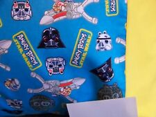 TRAVEL SIZE PILLOW CASE FLANNEL STAR WAR ANGRY BIRDS/YELLOW CUFF # 0010