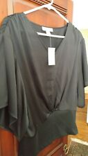 Coldwater Creek Women's Dolman Sleeve Blouse Top Black Size 8 Small