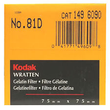 Kodak Wratten gelatin filtro. 75 x 75 mm. no. 81d Cat 149 6090