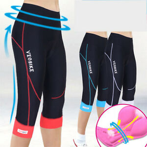 Women Ladies Cycling 3/4 Three Quarter Legging Shorts Padded Tights Capris Pants