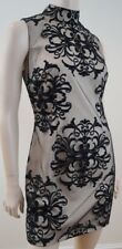 KEY COLLECTION Beige & Black Overnet Layer Evening Cocktail Mini Dress UK12 BNWT
