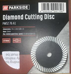 Parkside 76x1mm Diamond Turbo Cutting Disc PWSZ 76 A1 Parkside 12v Angle Grinder