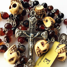 *Natural AGATE & Oxen Bone Skull ROSARY BEADS & ITALY CROSS catholic necklace