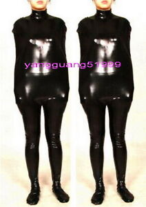 Unisex Black Shiny Metallic Mummy Catsuit Costumes Sleeping Bag Body Bags C020