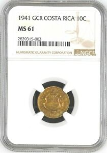 Costa Rica: 10 Centimos 1941 GCR, NGC MS-61, KM# 174 Brass