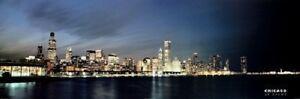 Chicago at Dusk Skyline Panorama Photo Print Poster Lake night lights city view