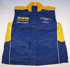 Irwin Tools Britek Ford Mens Blue Yellow Embroidered Fleece Vest Size S New