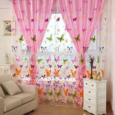 Butterfly Print Sheer Curtain Panel Window Balcony Tulle Door Room Divider Color