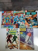 5 piece dc comic lot and classics illustrated.  Used/superman, batman,swampthing