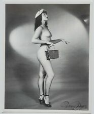 NOS Nude Bettie Page in Heels Pin-Up Lithograph Hand Signed by Bunny Yeager