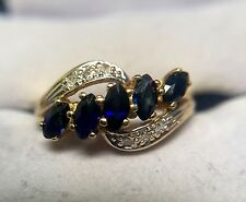 14K SOLID YELLOW GOLD BLUE SAPPHIRE AND GENUINE DIAMONDS RING Size 6.5