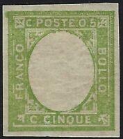 "Province Napoletane - 1861 - 5 cent. verde - ""senza effige"" - MH - Sorani"