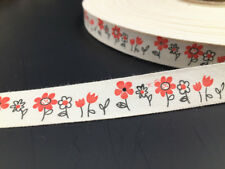 5Yards 15mm flower Eco Cotton Ribbon Hand Made Home Decor Sewing Craft