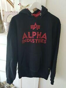 Alpha Industries Pullover Hoodie Gr. M Schwarz/rot