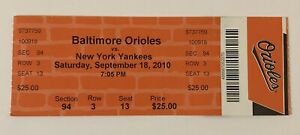 2010 Baltimore Orioles vs NY Yankees Ticket 9/18 Camden CC Sabathia 20th Win