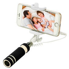 Black Wired Extendable Handheld Remote Shutter Selfie Stick Monopod For Phone