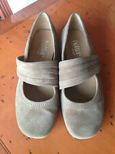 Ladies Hotter Adriana beige suede slip on casual Mary Jane shoes UK 3 EU 36