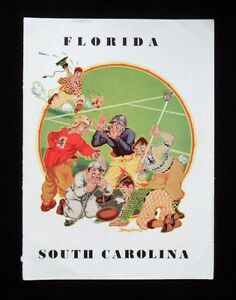 >Old 1930-40's FOOTBALL PROGRAM COVER Florida Gators v South Carolina Gamecocks
