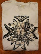 Gildan's White T-Shirt with Black Butterflies size Small