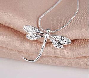 925 Sterling Silver Fashion Jewelry Dragonfly Pendant Necklace.