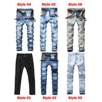 Men's Biker Ripped Skinny Jeans Bleached Distressed Frayed Slim Fit Denim Pants