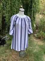 WEST LOOP Women's Blue White Striped Tunic Top Shirt / Short Dress Sz L