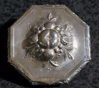 "Breidenstein & Renaud 800 Silver Repousse Octagon LIDDED DRESSER JEWELRY BOX 6"""