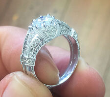 Diamond Engagement Ring And Bands 2.50ct 14k White Gold Round Cut Moissanite And