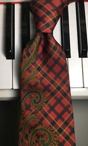 TOMMY HILFIGER / High Styled Highland Tartan Plaid Vintage Silk Tie w/Scrollwork