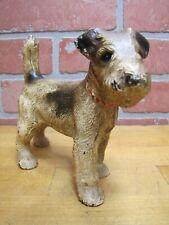 Wire Fox Terrier Pup Antique Cast Iron Dog Doorstop Decorative Art Statue