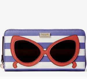 KATE SPADE Make A Splash Neda Sunglasses Wallet Zip Around Striped Clutch
