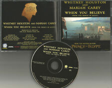 MARIAH CAREY & WHITNEY HOUSTON When you believe PROMO DJ CD single USA 1998 MINT