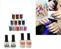 12 Colors Nail Art Transfer Foil Sticker for Nail Tips & Glue Adhesive Choose