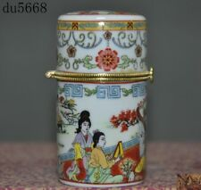 Collect Old China Wucai porcelain Glaze Depict Belle Girl Figure Rouge box